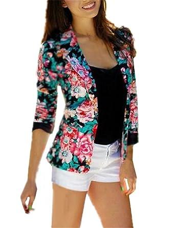 Elégant Floral Gogofuture Longue Veste Manche Imprime Femme Jacket 6W8qnqdCwx