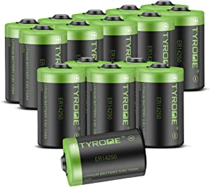 1/2 AA Size 3.6v Lithium Battery, ER14250 LS14250 1200 mAh Batteries Compatible for Dogwatch Dog Collar and Some of Movement Monitor/Home Security System/Alarm System - by TYRONE (16 Pack)