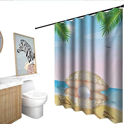 Homecoco Pearls Shower Curtain With Hooks Pearl In Big Shell On Tropic Sandy Beach Sun Rays