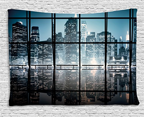 (Ambesonne Modern Decor Tapestry, Modern New York City Scenery at Night with Skyscrapers Buildings, Wall Hanging for Bedroom Living Room Dorm, 80 W X 60 L inches, Black and Dark)