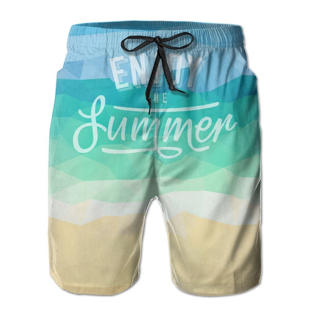 Yausend Mens Summer Tropical Beach Breathable Beach Board Shorts Swim Trunks Quick Dry