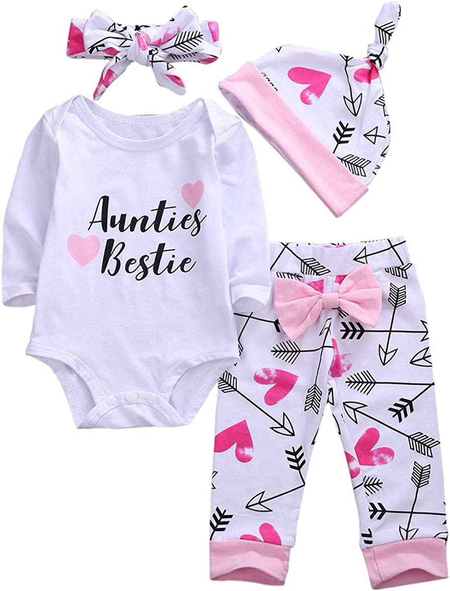 Luiryare Clothing 7Pcs Newborn Baby Girl Clothes Aunties Bestie Romper  Bodysuit Tops Arrows Love Pants Headband Hat Outfits