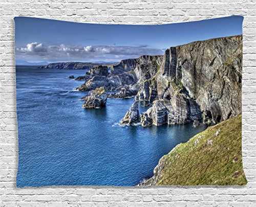 Ambesonne Room Decorations Collection, Atlantic Coast Cliffs at Mizen Head, County Cork, Ireland Ocean Coastal Scenery, Bedroom Living Room Dorm Wall Hanging Tapestry, 80W X 60L inch]()