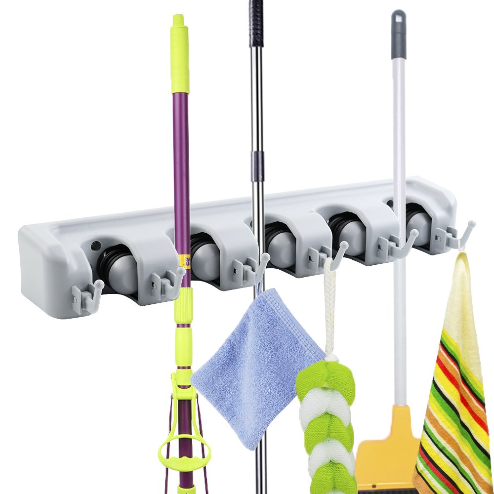 ASSR Aluminum Mop and Broom Holder, Wall Mounted Garden Tool Rack Storage Organization Magic Mop Frame for Your Home, Closet, Garage and Shed (5 Ball Slots and 6 Hooks)