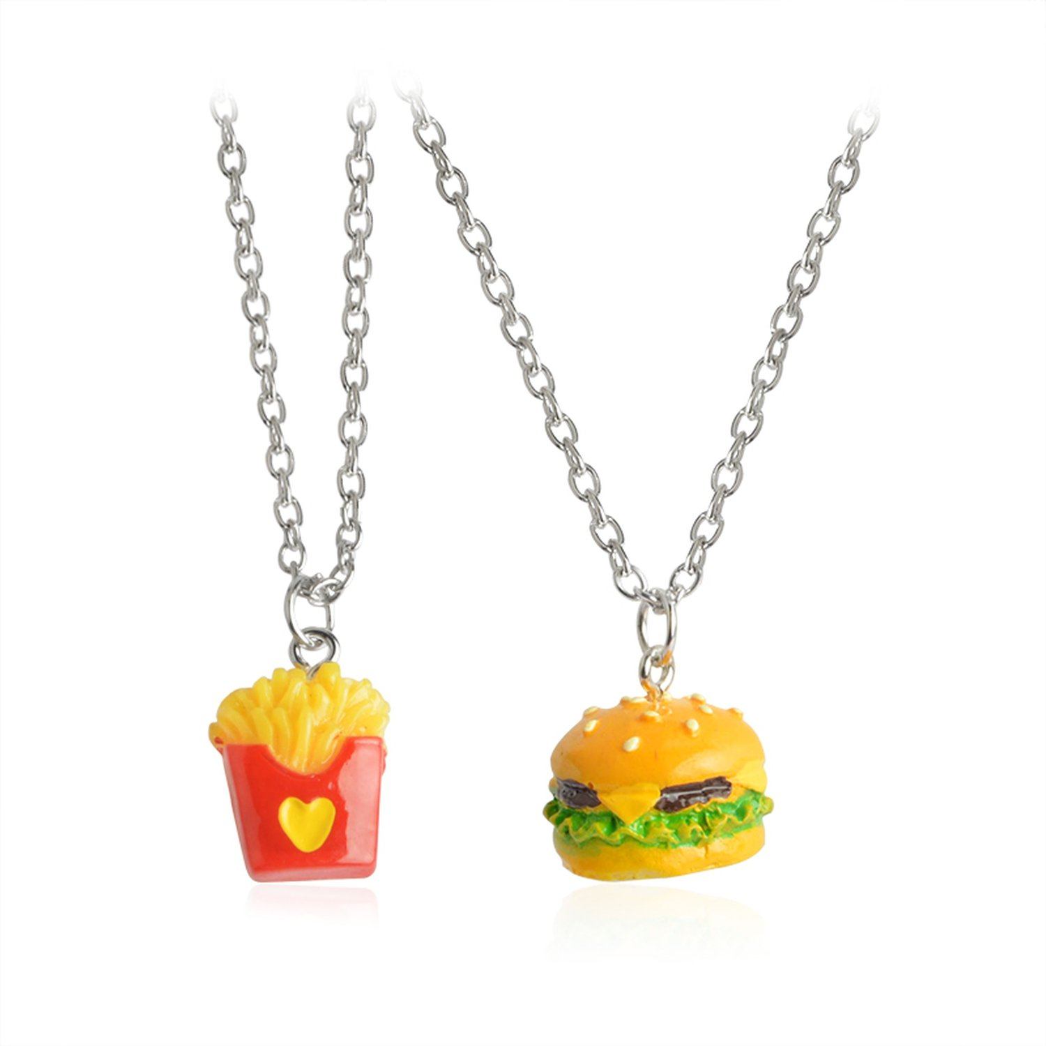 Acereima 2Pcs/Set Pendant Necklace Long Miniature Cheeseburger French Fries Burger Heart Love Chain