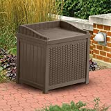 Most Elegant Inexpensive Weather Proof Decorative Mocha Brown 22-Gallon Resin Storage Deck Box Love Seat With Decorative Woven Design- Deep Storage Organizational Area For Easy Clean Up- Lightweight