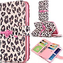 Grand Prime Case,Gift_Source [Multi Card Wallet] [Stand] Premium Magnetic PU Leather Wallet with Built-in 9 Card Slots Folio Flip Case For Samsung Galaxy Grand Prime G530H G5308 [Leopard bow]