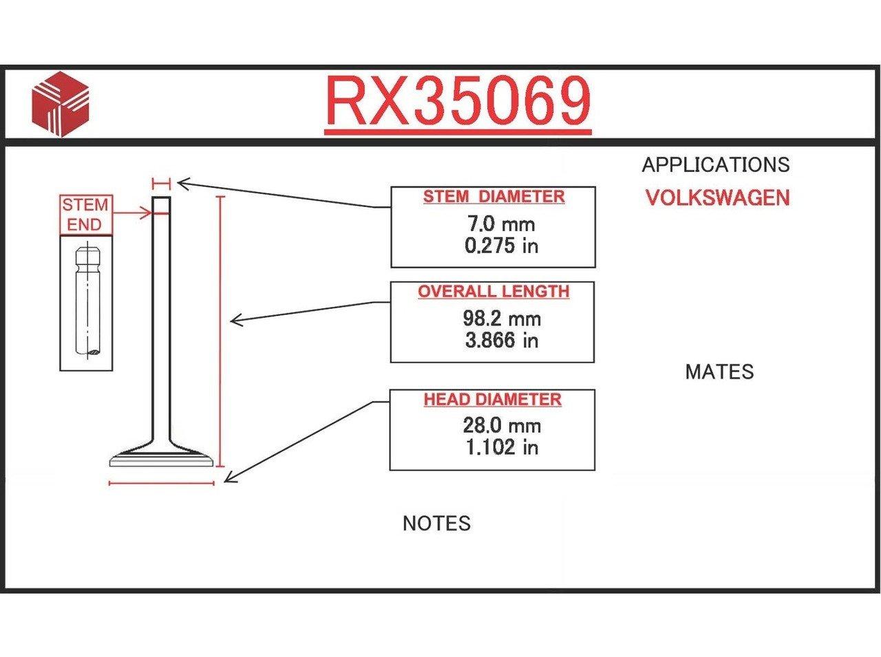 ITM Engine Components RX35069 Exhaust Valve