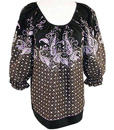 Karen Kane Ruffle Border Print, Blouson Sleeves, Scoop Neck Tunic Top