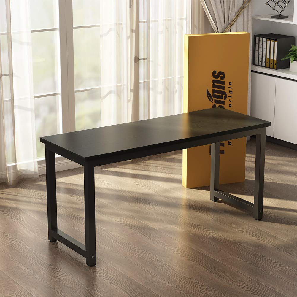 55 inch Large Office Desk Computer Table Study Writing Desk for Home Office Black Leg Tribesigns Computer Desk Black