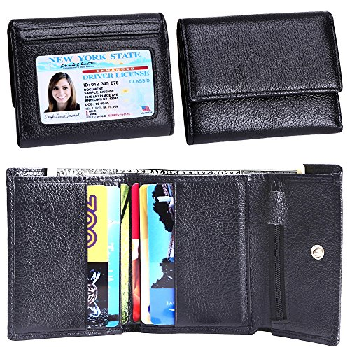 Women Small Wallet Genuine Leather Wallets Trifold Slim Credit Card Holder (Womens Tri Fold)