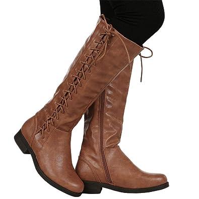 f6fa1ab23f9fdf Lueyifs Damen Stiefel Höhe Reit Schnüren Leder Strappy Fläche Winter Langschaft  Stiefeletten  Amazon.de  Schuhe   Handtaschen