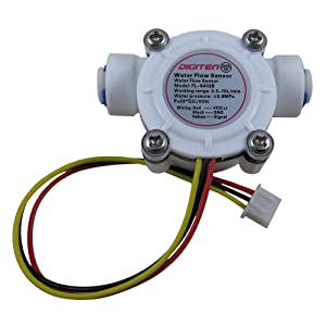 "DIGITEN G1/4"" Quick Connect Hall Effect Sensor Water Flow Sensor Flowmeter Water Flow Counter Meter 0.3-10L/min - Arduino, Raspberry Pi, and Reverse Osmosis Filter Compatible"