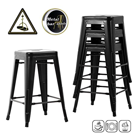 BestMassage Bar Stools Counter Stool Barstools Industrial Indoor Outdoor Metal Bar Stools 24 Stackable Modern Metal Bar Stools Kitchen Counter Stools Chairs Set of 4