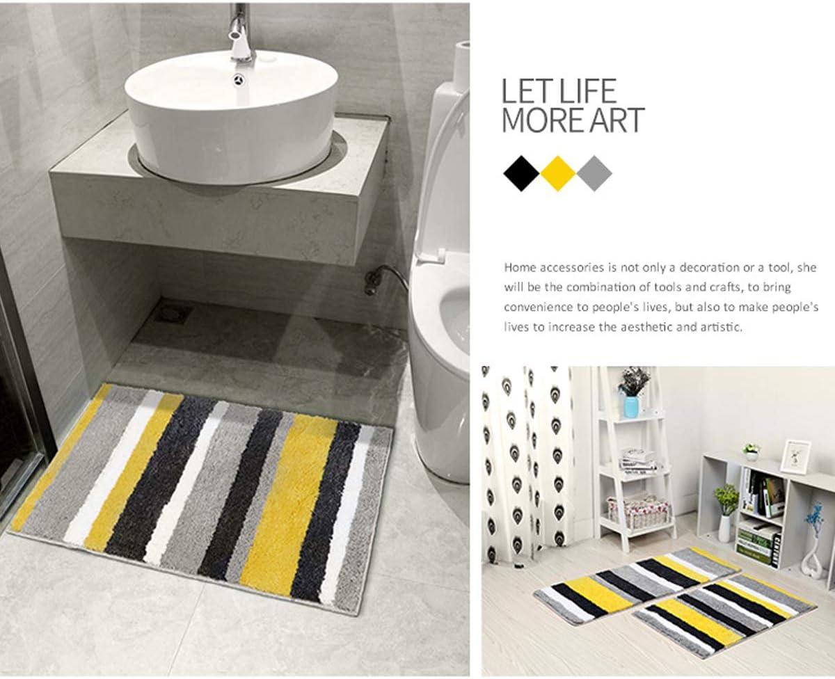 Frmarch Non-Slip Bathroom Rug Mat Bath Mat,Soft Shaggy Chenille Microfiber Absorbent Bath Rug for Bathroom Floor Mat with Machine-Washable, Black-18 x26
