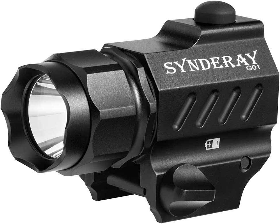 Image of the Synderay picatinny mount flashlight, color black.