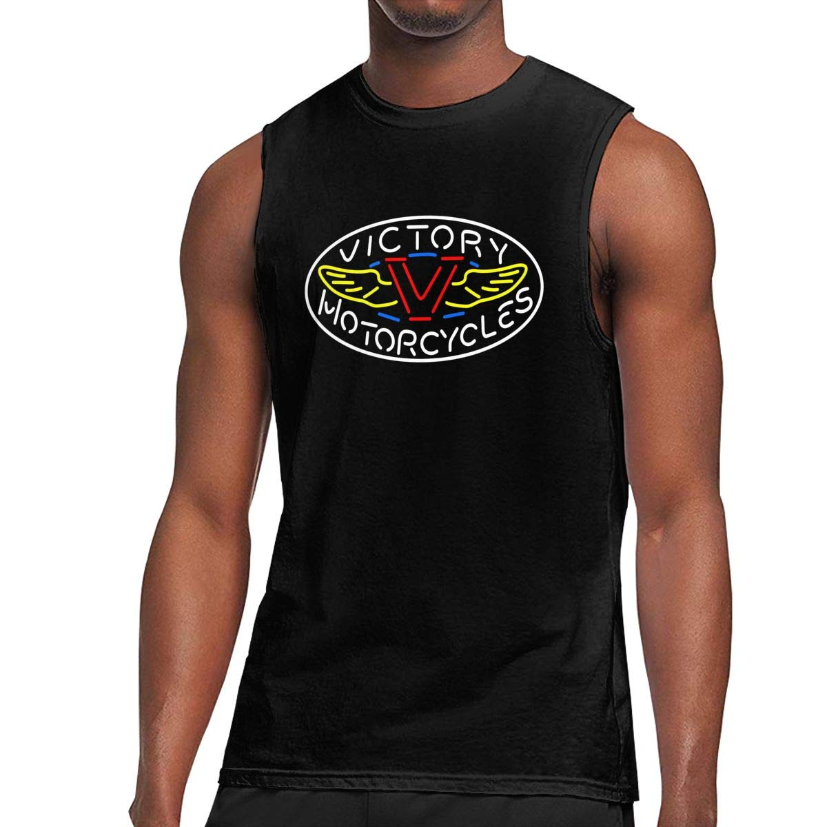 TIANXIN Personalized Handcraft Victory Motorcycle Logo Breathable 100% Cotton Sleeveless T Shirt for Man O-Neck XL Black