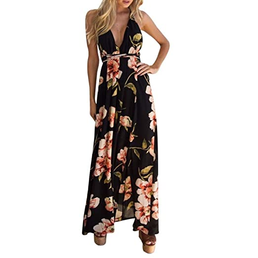 Kimloog Women s Deep V Halter Backless Sleeveless Floral Print Waist-Tie  Long Maxi Dress Split 1c4fc96f8