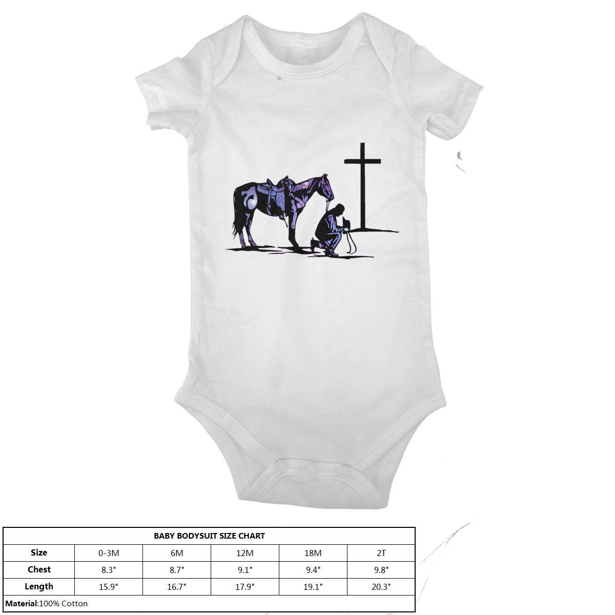 Cowboy Horse Prayer Cross Baby Onesies Infant Clothes Bodysuit Jumpsuit Rompers Outfits