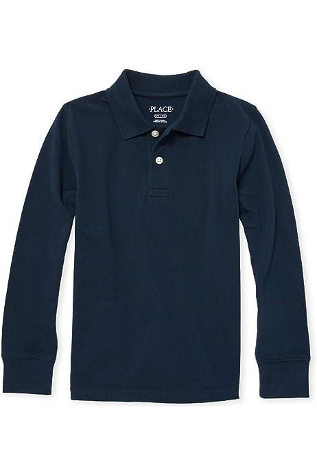 Black 4756 The Childrens Place Big Boys Short Sleeve Uniform Polo Large//10//12