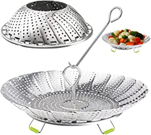 Vegetable Steamer Basket Fits Instant Pot Stainless Steel Steamer Basket for Cooking Foldable Food Steamer Basket Expandable to Fit Various Size Pot Include Safety Tool (5.1