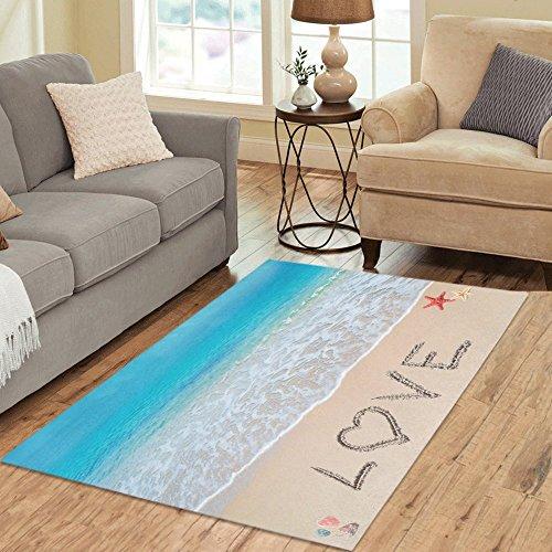 (InterestPrint Area Rug Tropical Coastal Ocean Seashell Anti Skid Carpet 5'3