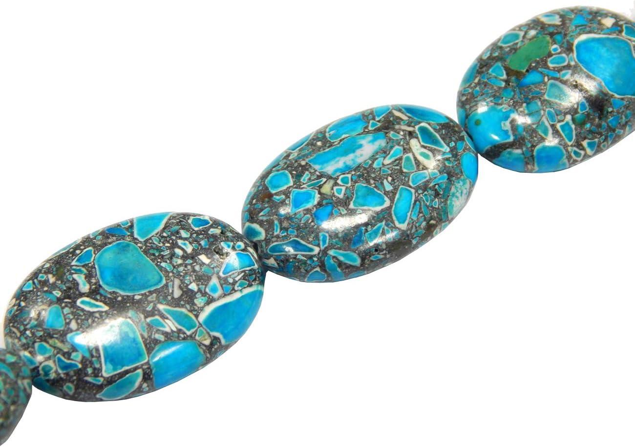 Perlin - Hilo de piedras preciosas turquesas de 28 x 18 mm, piedras preciosas semipreciosas de forma ovalada G159, auténticas, color azul, 14 unidades