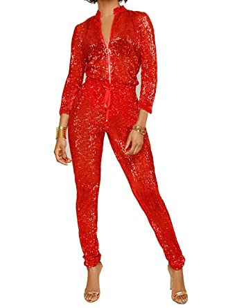 ee6539ba487 UONBOX Women s Sexy Sparkly V Neck Long Sleeve Party Clubwear Bandage  Romper Sequin Jumpsuit (S