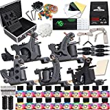 Dragonhawk Complete Tattoo Kit 5 Dragonhawk Mate Tattoo Machine Gun 20 Immortal Tattoo Inks Power Supply 50 Needles Grips Tips with Case 5-1