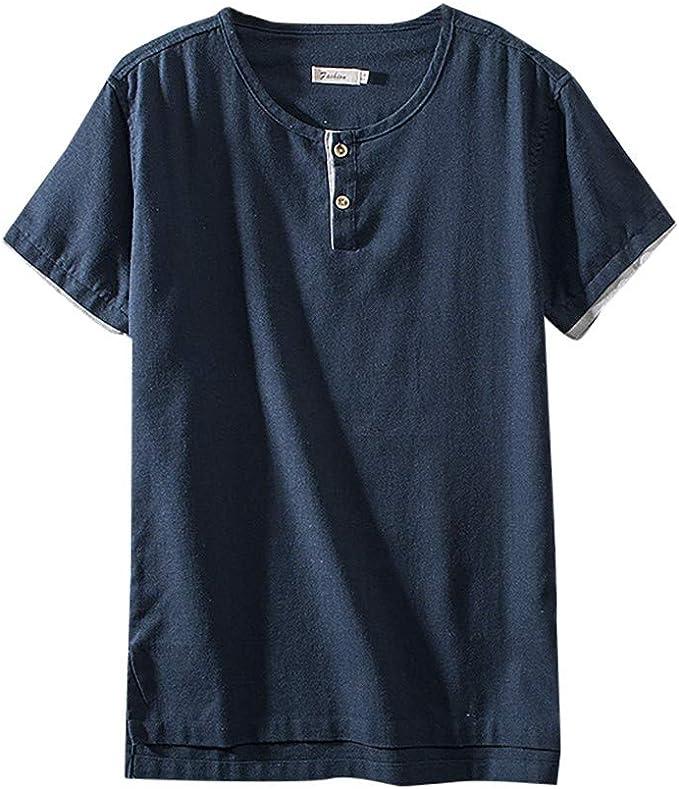 SoonerQuicker Camisas Tops T Shirt 2019 New Moda Hombre Algodón Lino Color Puro Manga Corta Camisetas Vintage Tops Blusa tee Blusa Tops: Amazon.es: Ropa y accesorios