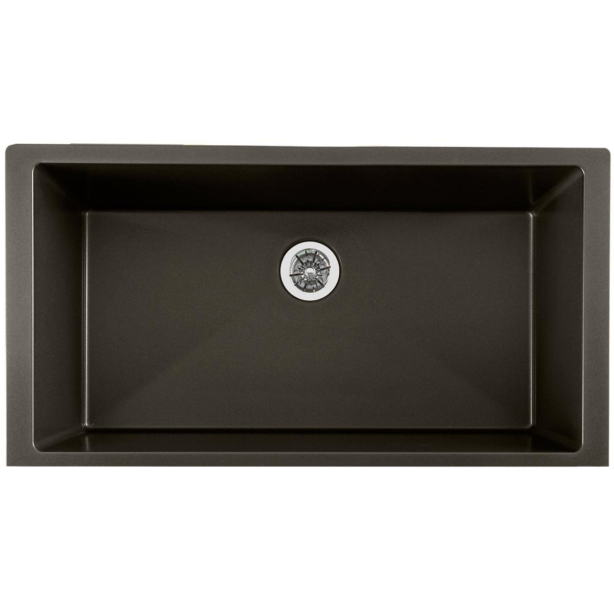Elkay Quartz Luxe ELXRUP3620CA0 Single Bowl Undermount Kitchen Sink with Perfect Drain, Caviar