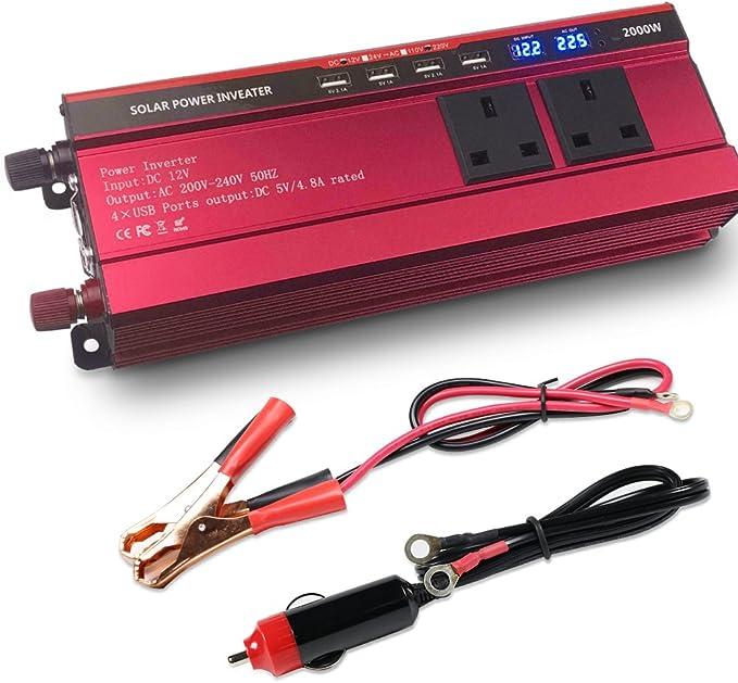 2000W Auto Wechselrichter Konverter Dual USB Ladeger/ät Adapter DC 12V auf AC 230V mit 1 Zigarettenstecker Kabel und 1 Batterie Clip Kabel