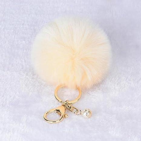 Amazon.com: ecosin lindo pelota de piel de conejo llavero ...