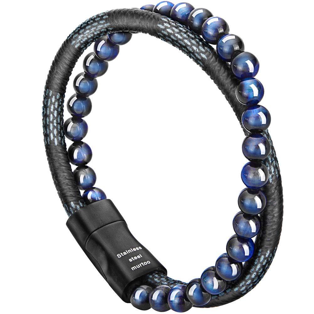 murtoo Mens Bead Leather Bracelet, Blue Brown Bead Leather Bracelet Men B07DN41WWQ_US