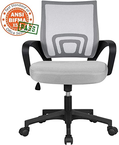 Topeakmart Desk Chair Ergonomic Mesh Office Chair Computer Chair with Suit Hanger for Home Office Furniture Gray
