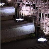 Fandazzie 1pc Luces solares subterráneas de 8 LED para Exteriores Luces para jardín de césped Iluminación de Caminos