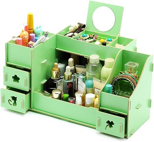 Qinlee Madera Caja para cosméticos caja cajones tipo de sobremesa ...
