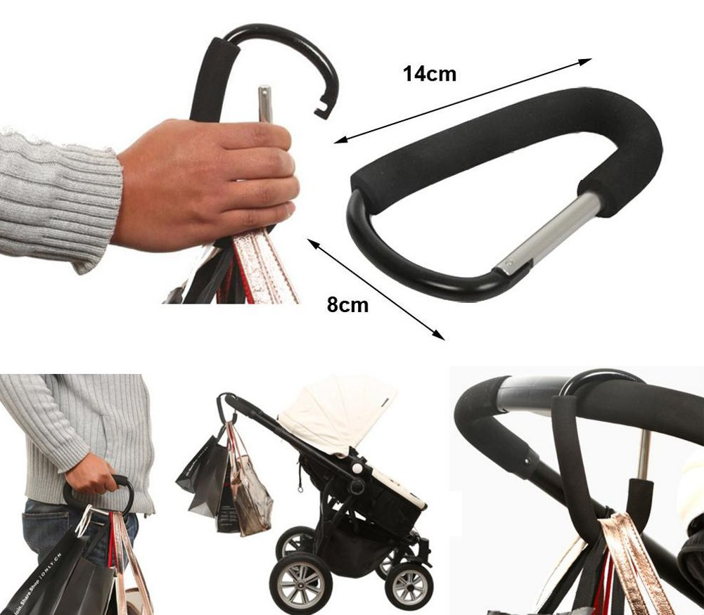 RICHEN Mommy Hook Black,4-Pack Mommy Hook Stroller Hanger Baby Stroller Hook Set Mom, Great Stroller Organizer Accessories for Hanging Diaper Bags,Groceries,Purses and More (Hook) by Richen (Image #2)