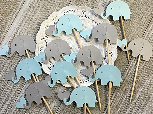 Light Blue and Light Grey Elephants holding Hearts Cupcake Toppers - New Larger Size 1