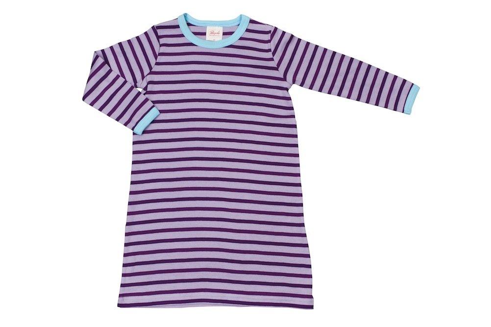 Baby Langarm Nachthemd violett/geringelt Gr.92 Bio People Wear Organic