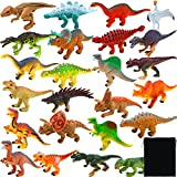 Elcoho 24 Pack Realistic Dinosaurs Figures Toys Assorted Dinosaur Figures with Velvet Storage Bag,...