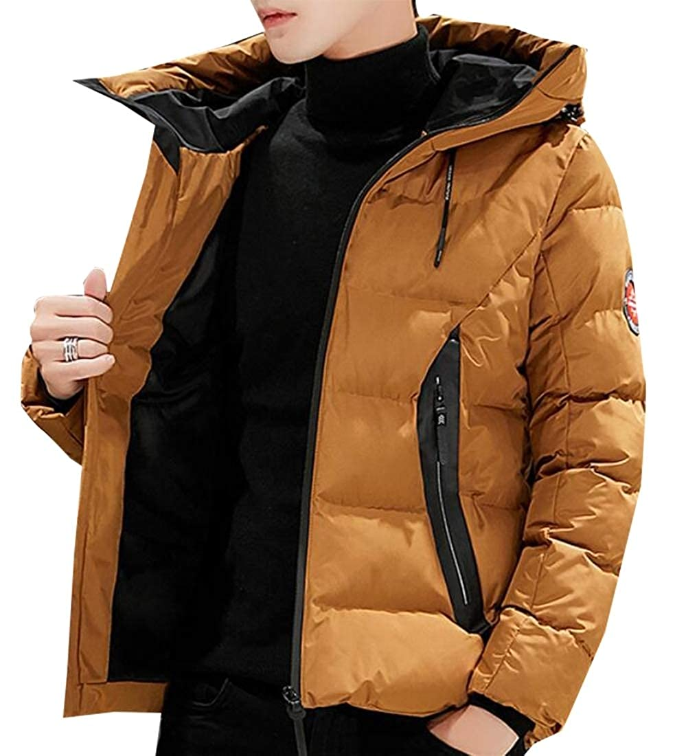 XQS Men Winter Thicken Hooded Zipper Warm Parka Overcoat Down Jacket