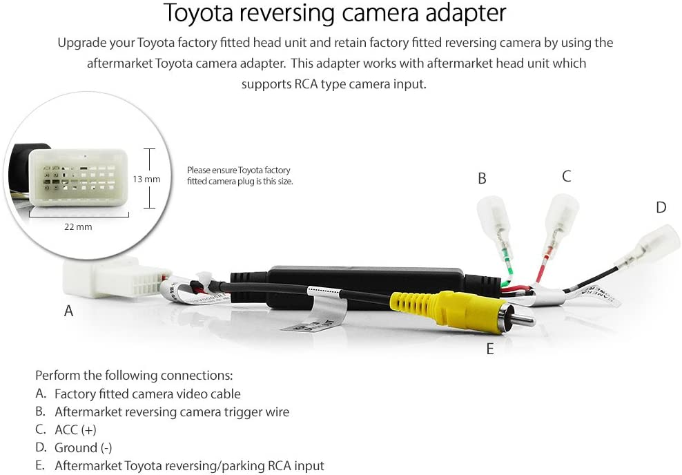 Factory Car Rear Camera Retention Interface Lead for Toyota Camry 2014 onwards