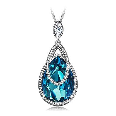 JNINA Sapphire Alpine Lakes Pendant Necklace Jewelry With Swarovski Crystals Anniversary Birthday Gift For