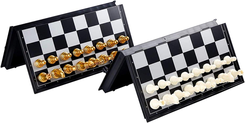 MUYUUU 체스트 접이식 자기 여행 체스 휴대용 세트 게임이 보드-직업적인 체스에 대한 아이들이 성인 남자가 여성 청소년 장난감 선물-학습과 교육 장난감 선물(색상:크기 32CM)