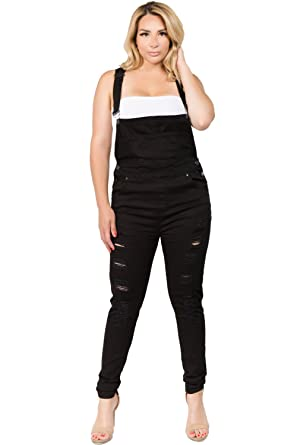 935a7928aa94 TwiinSisters Women s Plus Size Natural Curve Enhancing Slim Fitted Overalls  with Comfort Stretch (1X