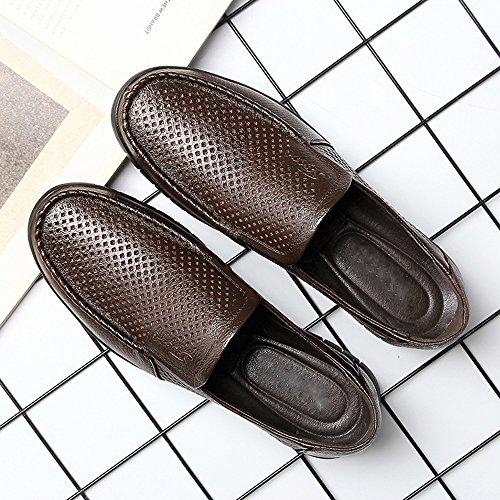 Loafer 39 clásicos tamaño Slip Cuero Perforation on EU los de Color Hombres Suela Superior Zapatos Meimei Oscuro Marron shoes Piso Transpirable Genuino Soft qX1ppSZw