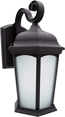 Maxxima LED Outdoor Wall Light, Porch Lantern Black w Frosted Glass, Photocell Sensor, 700 Lumens, Dusk to Dawn Sensor, 3000K Warm White