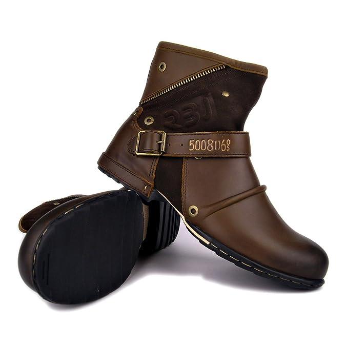 Amazon.com | FRAR Leather Boots for Men Chukka Casual Zipper ...