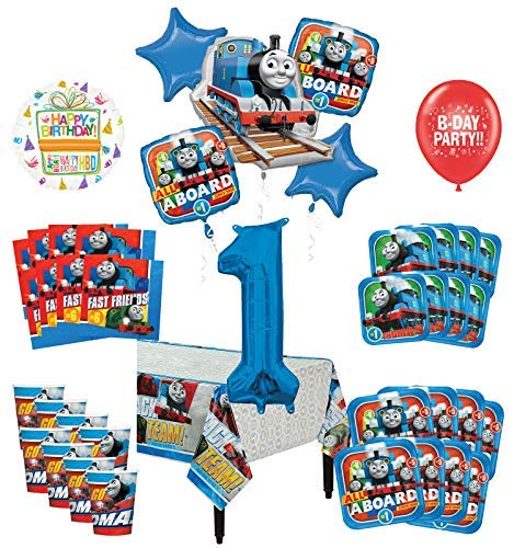 Mayflower Products Thomas The Train Tank Engine 1st Birthday Party Supplies 8 Guest Decoration Kit and Balloon -